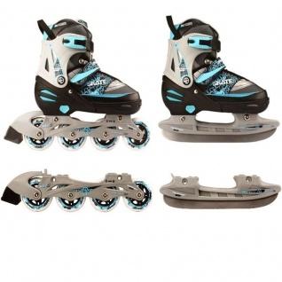 Kinder Inliner und Schlittschuhe 2 in 1 Gr. 31 32 33 34 Skater (blau) ABEC 5