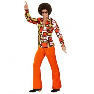 70er Disco Hippie SCHLAGHOSE orange + HEMD tubes - Herren Kostüm Schlagermove