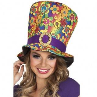 Hippie Flower Power XXL Damen Zylinder - Groovy Hut Karneval Fasching #523