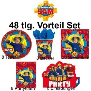 52 tlg. Vorteil-Set SAM FEuerwehrmann Kinder Geburtstag Party Deko Teller Becher