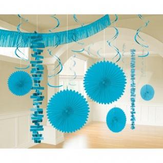 18 tlg. XL Raum Deko-Set -azurblau - Party Feier Hochzeit Girlande Geburtstag