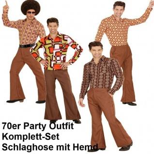 70er Jahre Herren SCHLAGHOSE + HEMD braun Kostüm Disco Hippie Schlager Outfit