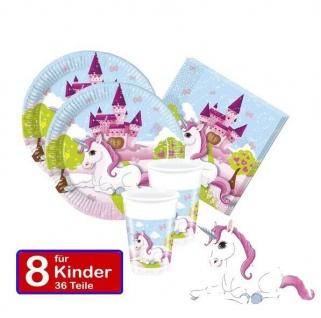 Kleines Einhorn für 8 Kinder Kinder-Geburtstag Party Teller Becher Servietten