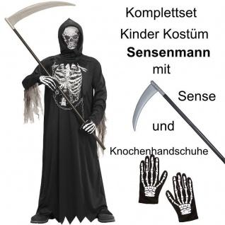 TOP SET Kinder Kostüm Gr. 140 SENSENMANN TOD + Sense + Handschuhe Halloween #677