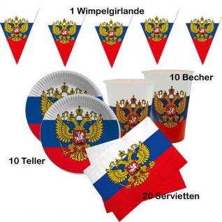 Spar-Set Länderparty 41tlg. Russland, Mottoparty weiß-blau-rot Teller, Becher usw.