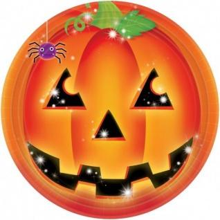 8 Papp Teller Kürbis Pumpkin Motiv Halloween Party Deko