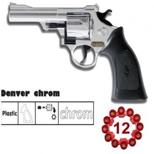 Cowboy Pistole DENVER CHROM 12-Schuss-Colt Kinder Western Spielzeugpistole