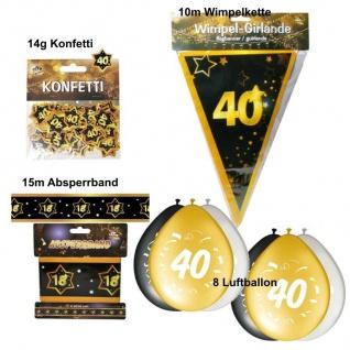 Party Deko Set zum 40. Geburtstag Party 40 Jahre Jubiläum schwarz gold (Set 4)
