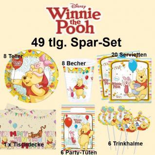49tlg. Spar-Set Winnie the Pooh Kinder Geburtstag Party Deko Teller Becher Tüten
