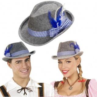 TRACHTEN TIROLER Hut blau/weißes Band mit Feder - Bayern Oktoberfest Fedora 5711