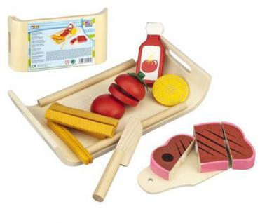 Lebensmittel Kinder Holztablett Fast Food aus Holz und Filz (017)