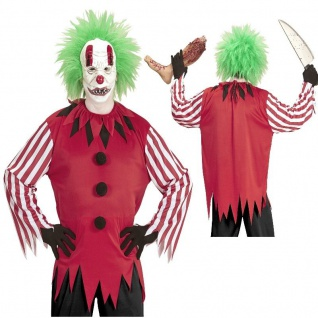 Horror Killer XL 54 Herren Clown Kostüm + Maske Halloween Verkleidung
