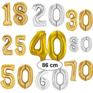 XXL Folienballon Zahl Helium Luftballon 86cm Silber / Gold 10 16 18 20 25 30 40