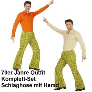 70er Jahre Herren SCHLAGHOSE + HEMD Kostüm Wall Disco Hippie Schlagermove 48-58