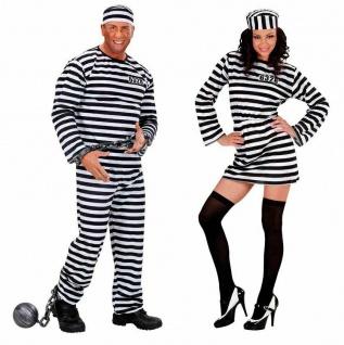 Sträfling Häftling Partner Kostüm Damen Herren - PREISHIT - Knacki schwarz/weiß