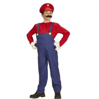Super Mario Bros. Mario KLEMPNER Kinder Kostüm - 128 - Karneval Fasching #8706