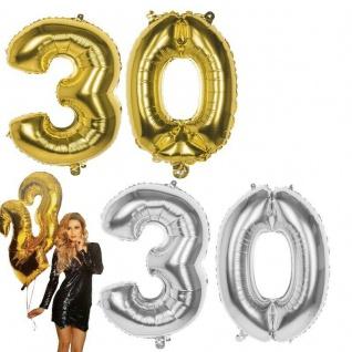 30. Geburtstag Jubiläum XXL FOLIENBALLON Zahl 86cm Gold/Silber Helium Luftballon
