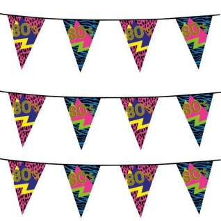 80er Jahre Wimpelkette 6m Party Artikel Dekoration Disco Motto Party 600cm #4600