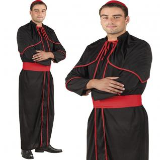 Kardinal Kostüm Set Herren schwarz/rot Priester Bischof - Karneval Fasching #852