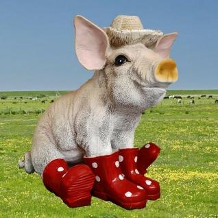 Schwein Ferkel mit roten Gummistiefel und Hut Garten Deko Figur Sau Tierfigur