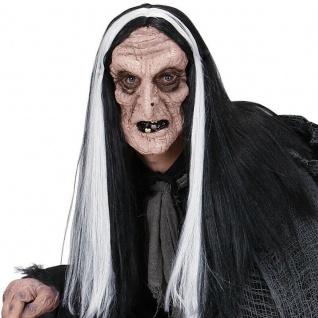 HEXENMASKE mit Haaren Schrumpelhexe -Karneval Halloween Wolga Maske Hexe #2116