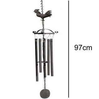 KLANGSPIEL ?HAHN? Windspiel Vogel Metall 97cm Garten dezenter Klang #0027