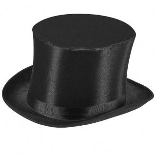 ZYLINDER in Satin Optik - Klassischer Hut Karneval Fasching Kopfbedeckung #717