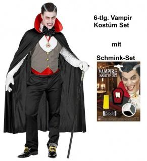6 tlg. Vampir Graf Darcula Herren Kostüm-Set mit Schminke - Gr. M/L - #1683V
