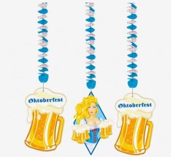 3er Set Swirl Dekenhänger Oktoberfest Bayern - Bierkrüge - blauweiss Deko #1491