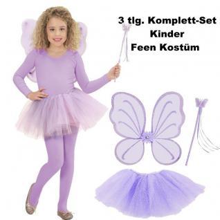 Kinder Feen Kostüm Set 3tlg. Tüllrock Flügel Zauberstab Lila - Schmetterlingsfee