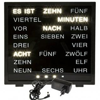 Wort Anzeige Uhr deutsche Wort-Anzeige 16, 5x16, 5cm schwarz Tischuhr LED Wortuhr