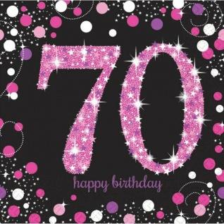 70. Geburtstag Party Motiv Servietten schwarz rosa pink Feier Tisch Deko #1745