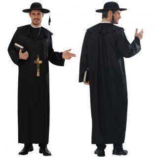 PRIESTER Herren Kostüm Gewand Pfarrer mit großem Kreuz, Gr. M (50) und L (52)