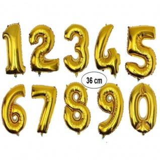 Folienballon GOLD Zahlenballon Luftballon Zahl 0 bis 9 - Geburtstag Jubiläum