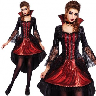 VAMPIRIN VAMPIR edles Damen Kostüm S 36/40 Kleid mit Halskette Halloween #0763