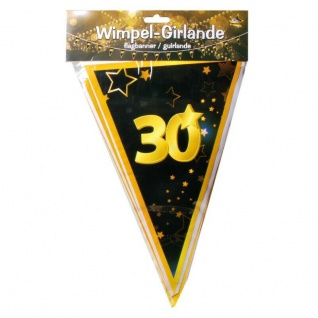 "10 m Wimpel-Girlande "" 30"" Geburtstag Wimpelkette schwarz/gold Party Deko #3084"