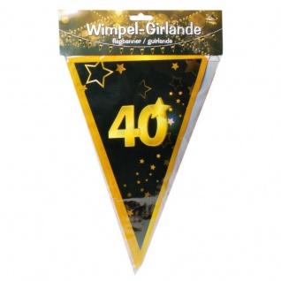 "10 m Wimpel-Girlande "" 40"" Geburtstag Wimpelkette schwarz/gold Party Deko #3085"