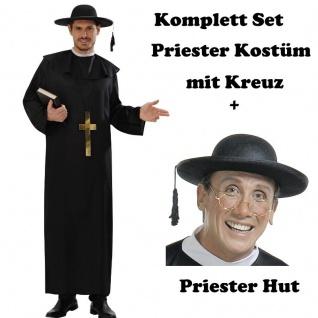 Priester Gr. 50 (M)Kostüm mit Kreuz und Hut Kirche Kostüm Pater Pfarrer #9487