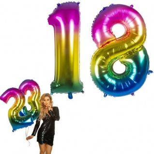 18.Geburtstag XXL FOLIENBALLON Zahl 86cm Regenbogen bunt Helium Luftballon