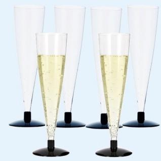 6 Trinkbecher Sektgläser glasklar mit schwarzem Fuß PS 100ml Einweg Plastik
