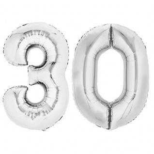 XXL Folienballon Zahlenballon Hochzeit Jubiläum Geburtstag SILBER 80cm Zahl 30