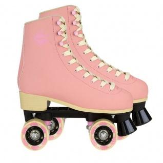 Rollschuhe Retro Roller Skates Damen/Mädchen pink Leder ABEC 7 schnellauf Rollen
