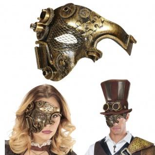 STEAMPUNK HALBMASKE kupferfarben Retro viktorianisch Fantasy Kostüm Maske #9647