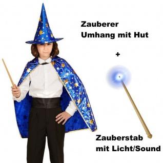 ZAUBERER UMHANG + HUT + ZAUBERSTAB Kinder Kostüm für Jungen und Mädchen