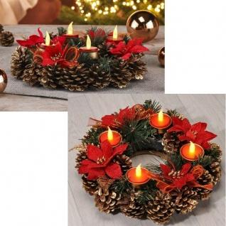 Adventskranz mit LED Teelichtern 30 cm beleuchteter Weihnachtskranz 30 cm Kranz