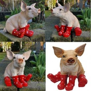 Schwein mit rote Gummistiefel Garten-Dekofigur Sau Tierfigur Ferkel Skulptur