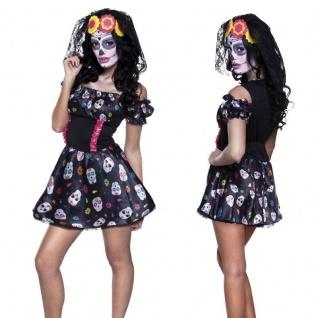 Damen Kostüm TAG DES TODES Kleid Dia de los muertos Halloween Karneval