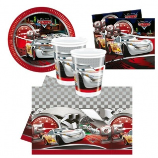 CARS Silver Party Set - Teller Becher Servietten Tischdecke - Kinder Geburtstag