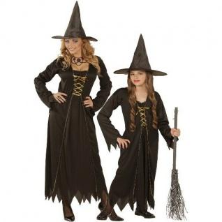 HEXEN KOSTÜM für Damen & Mädchen Halloween - Kleid mit Hut - schwarz Hexe NEU