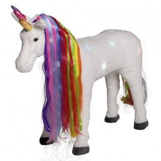 EINHORN REITPFERD Pferd mit Licht und Sound Plüschpferd 100kg tragkraft #8063